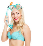 Girl in a bathing suit and mask Royalty Free Stock Images