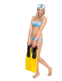 Girl in a bathing suit and mask Royalty Free Stock Photography