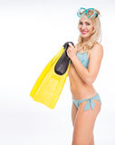 Girl in a bathing suit and mask Royalty Free Stock Image
