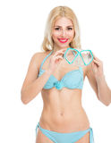 Girl in a bathing suit and mask Stock Images