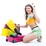 The girl in a bathing suit and mask for diving Stock Image
