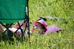 A girl in a bathing suit sunbathing on a green meadow. Nearby there is a folding chair for a picnic. A girl in a bathing suit sunbathing on a green meadow Royalty Free Stock Images