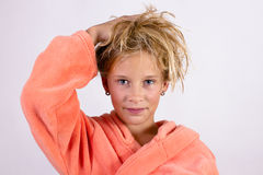 Girl in a bathrobe Royalty Free Stock Images