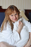 Girl in bathrobe Royalty Free Stock Photo