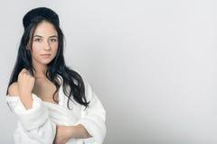Girl in bathrobe Stock Photo