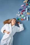 Girl in bathrobe Stock Photos
