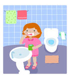 Girl in the bathroom royalty free stock images