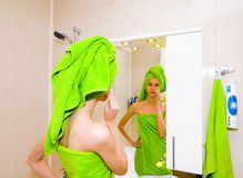 Girl in bathroom Royalty Free Stock Photos