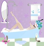 Girl in the bathroom. Funny cartoon: a flirtatious woman in the bathroom talking on the phone Stock Images