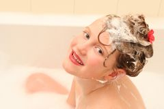 Girl in bathroom Royalty Free Stock Photography