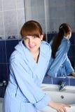 Girl in a bathroom Royalty Free Stock Photos