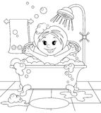 Girl in the bathroom Stock Photo
