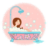 Girl in bathroom Stock Photo