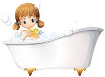 A girl on the bathtub Stock Images