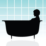 Girl in bathtub vector illustration Stock Photos