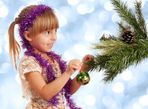 Girl with bauble Royalty Free Stock Photography