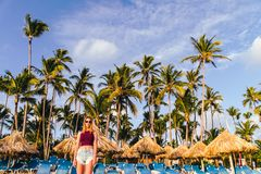 Girl at Bavaro Beaches in Punta Cana, Dominican Republic. Photo of Girl at Bavaro Beaches in Punta Cana, Dominican Republic royalty free stock images