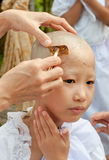 Girl be removed hair to become a nun during a Buddhist ordinatio Royalty Free Stock Images