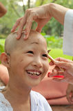 Girl be removed hair to become a nun during a Buddhist ordinatio Royalty Free Stock Image