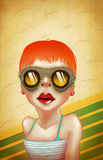 Girl on the beach. Portrait of a Girl in Sunglasses Sitting on the Beach vector illustration