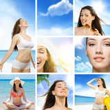 Girl on the beach. Collage. young beautiful girl on the beach Stock Image