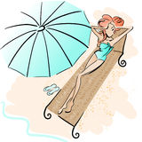 Girl on the beach. Watercolor-style illustration of a girl sunbathing. Drawn with Illustrator brushes to achieve natural media look in digital file. Fills and Royalty Free Stock Photography