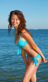 Girl in beach Stock Images
