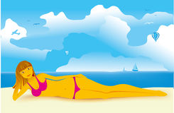 Girl on a beach. A smiling girl on a beach on background of sea Stock Illustration