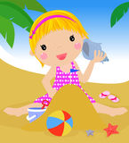 Girl on beach Stock Image