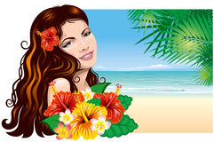 Girl on the beach. Pretty young woman with tropical flowers on the beach Royalty Free Stock Photo