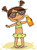 The girl on the beach. Funny Girl in swimsuit with sunscreen Stock Image
