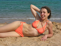 Girl on beach 2 Stock Image