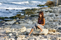 A girl on a beach Royalty Free Stock Photography