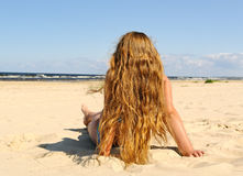 Girl on the beach. Stock Photography