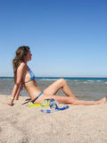 Girl on beach. With snorkel gear photo stock photo
