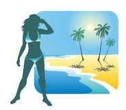 Girl and beach. Dark silhouette of the girl in a bathing suit on a background of a beach, the sea and palm trees Royalty Free Stock Images