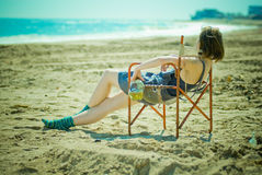 Girl on the beach Royalty Free Stock Images