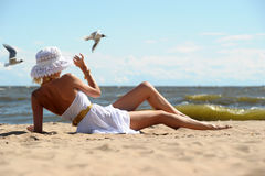 The girl  on the beach Royalty Free Stock Photo