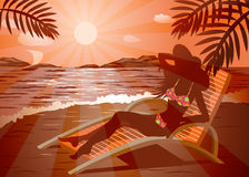 Girl on the beach. Girl in a hat and sunglasses getting tan on a beach Stock Images