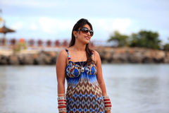 Girl at beach. Beautiful indian girl at beach side stock image