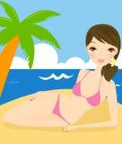 Girl on beach. Illustration of a beauty girl on beach Stock Images