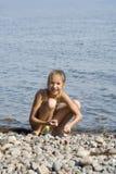 Girl on the beach. The nice girl on the beach Stock Photos