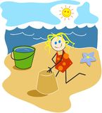 Girl at the Beach royalty free illustration