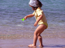 Girl on the beach. In Greece Royalty Free Stock Images