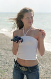 Girl at the beach Royalty Free Stock Photography