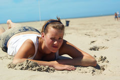 Girl on the beach. stock images