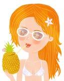 Girl on the beach. Cute girl in bikini with pineapple Stock Image