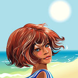 Girl on the beach. Looking over shoulder, editable vector illustration Royalty Free Stock Photos