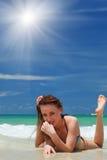 Girl on a beach Royalty Free Stock Photo