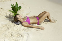 Girl on beach with baby palm tree Royalty Free Stock Photos